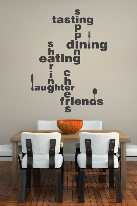 dining room wall decals black words wall decal wooden dining table white dining chairs wooden floor orange bowl