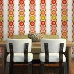 Dining Room Wall Decals Colorful Stripe Wall Decal Wooden Dining Table White Chairs Green Couch Wooden Floor