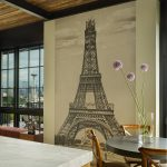 Dining Room Wall Decals Eiffel Wall Decal Beige Wall Black Round Pedestal Table Wooden Chairs Glass Flower Vase Windows