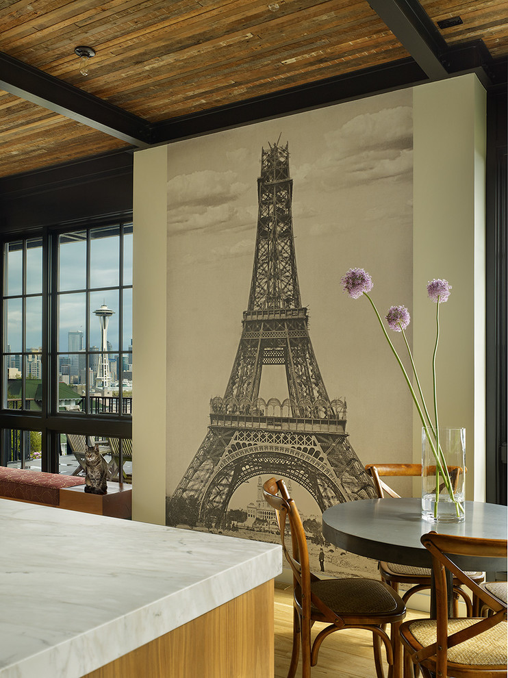 Dining Room Wall Decals Eiffel Decal Beige Black Round Pedestal Table Wooden Chairs Glass