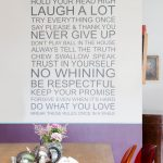 Dining Room Wall Decals House Rules Wall Decal White And Purple Wall Wooden Dining Table Red Ghost Chairs Glass Flower Vase