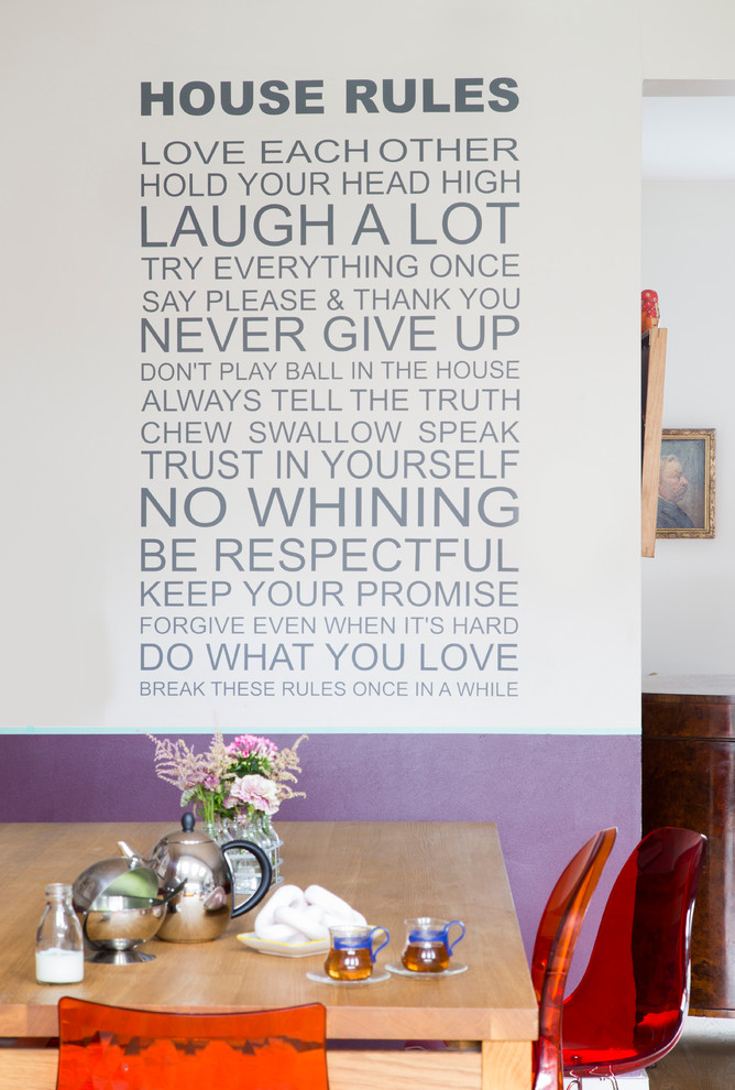 Dining Room Wall Decals House Rules Wall Decal White And Purple Wall Wooden Dining  Table Red