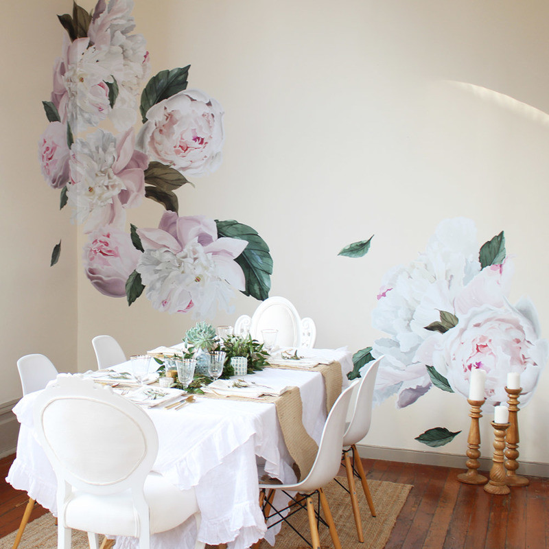dining room wall decals urban wall decal peonies white dining table white dining chairs woden table area rug