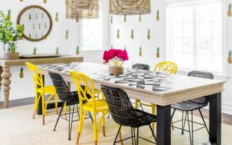 dining room wall decals wooden dining table black and yellow chairs mirror pineapple decals windows pendant lamps