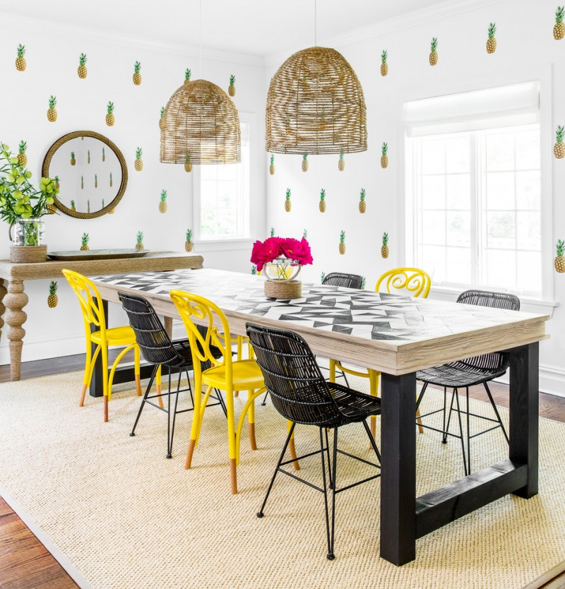 Dining Room Wall Decals Wooden Dining Table Black And Yellow Chairs Mirror  Pineapple Decals Windows Pendant
