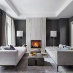 Gray Sofa Thin Legs Gray Coffee Table Gray Wall Gray Floor Marble Fireplace Floor Lamps Gray Curtain