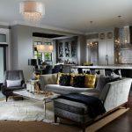 Hardwood Floor Gray Leather Sofa Gray Couch Glass Desk Rug Area Chandelier Home Bar Gray Wall Bar Stools