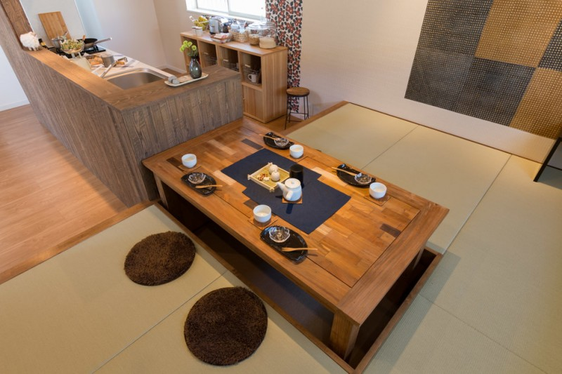 japan style dining table dark brown shag floor cushions japanese dining ware wooden cubbies undermount sink faucet stool curtain
