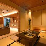 Japan Style Dining Table Wooden Dining Table Floor Cushion Yellow Floor Tatami Indoor Plant Floor Lamp Recessed Lighting Sliding Doors