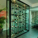 Modern Wine Cellar Black Framed Glass Wine Cellar Wine Racks Wooden Floor Shag Rug Black Stairs Glass Railing Indoor Plant