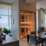 Modern Wine Cellar Pendant Lamp Black Dining Table Black Leathered Chairs Wood Vinyl Floor Wine Cellar Lighting Door