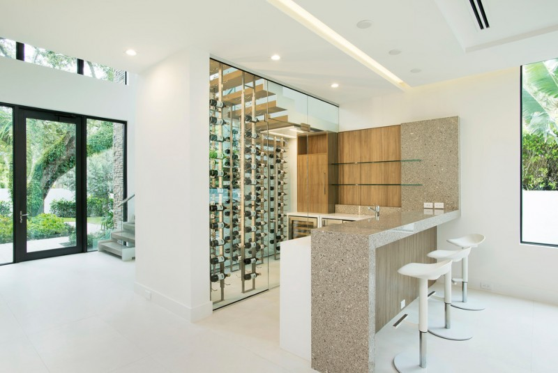 modern wine cellar white barstools white island small wine cellar granite top window sink faucet recessed lighting
