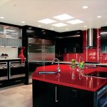 Red And Black Kitchen Black Kitchen Cabinets Red Countertop Red Backsplash Oven Stovetop Sink Island Range Hood
