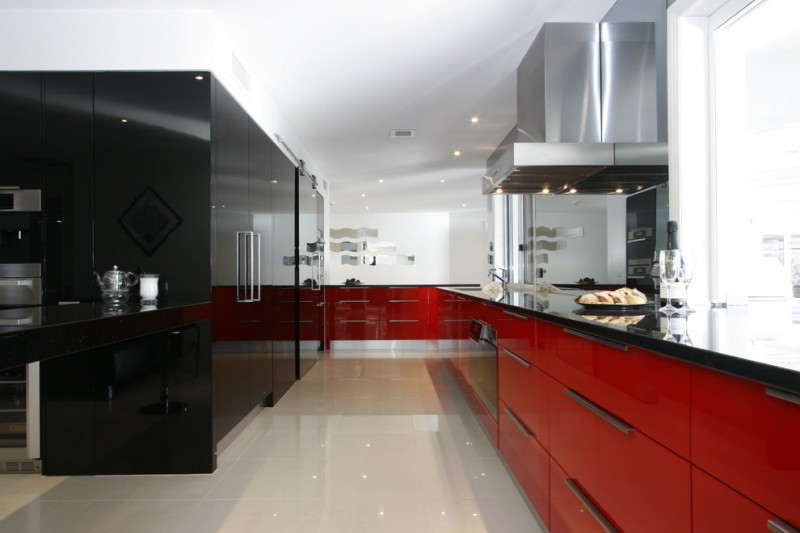 Red And Black Kitchen Red And Black Cabinets Stovetop Range Hood Sink Oven  Drawers