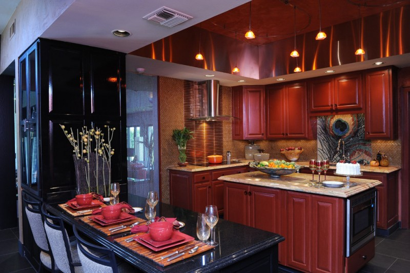 enchanting large kitchen idea | Enchanting Red and Black Kitchen Ideas You Need to Know ...