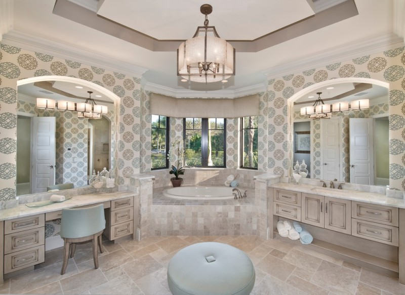 vanity bath chandelier wallpaper built in tub ottoman windows drop in sink tiled floor