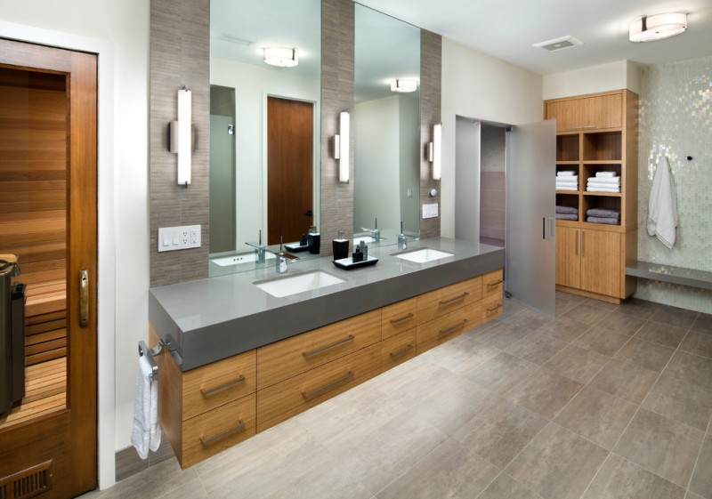 bathroom vanity refacing drawers floating vanity with under lighting quartz top sinks mirrors wall sconces towel ring