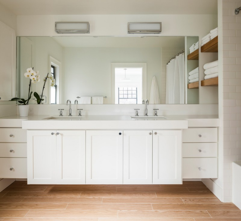 bathroom vanity refacing white drawers white top sinks faucet orchid mirror built in shelves white floor tile wooden tile
