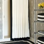 Ceiling Track Shower Curtain Black Frame White Curtain Shower Head Black And White Walls Floor Tile Towels Rack Bath Rug
