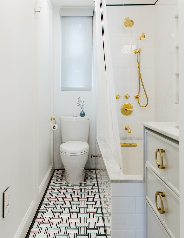 ceiling track shower curtain gold accents black and white floor tile white shower tile white curtains window bathtub