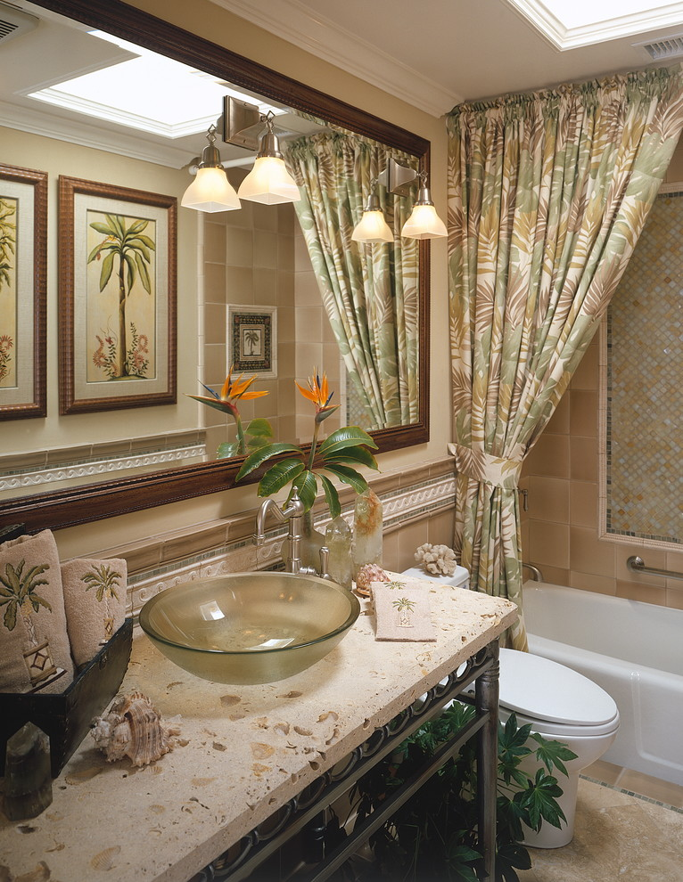 ceiling track shower curtain wall sconces patterned curtain glass sink bowl shower tub mosaic tile mirror beige top