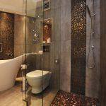 Decorative Wall Tiles Black And Gold Tiles Glass Shower Doors Rainfall Shower Head Grey Wall Built In Shelves Freestanding Tub