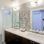 Decorative Wall Tiles Bullet Series Backsplash Tiles White Tile Rainfall Shower Head Glass Shower Door Wall Sconces Mounted Faucet Sink Wooden Vanity