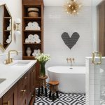 Decorative Wall Tiles Gold Chandelier Heart Shaped Mosaic Tile Wall Sconces Tub Wooden Vanity Cabinet Glass Dhowe Door Mirror Sink