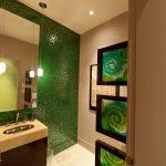 Decorative Wall Tiles Green Mosaic Wall Tiles Glass Mirror Pendant Lamp Sink Faucet Wooden Vanity Green Glass Frames