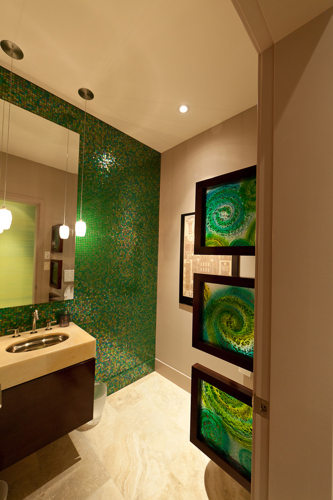 decorative wall tiles green mosaic wall tiles glass mirror pendant lamp sink faucet wooden vanity green glass frames