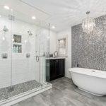 Decorative Wall Tiles Mosaic Tile Crystal Chandelier Freestanding Tub Head Shower Glass Shower Doors Black Wooden Cabinet Window Sink