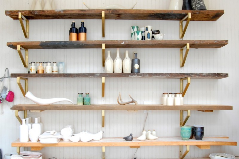 diy wooden shelf bracket gold sprayed shelves brackets wooden shelves white wallpaper countertop bottles decorations
