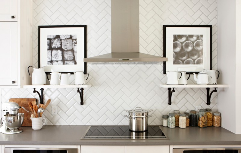 diy wooden shelf bracket white shelves artwork white backsplash extractor fan stovetop oven grey countertop cutting board jars