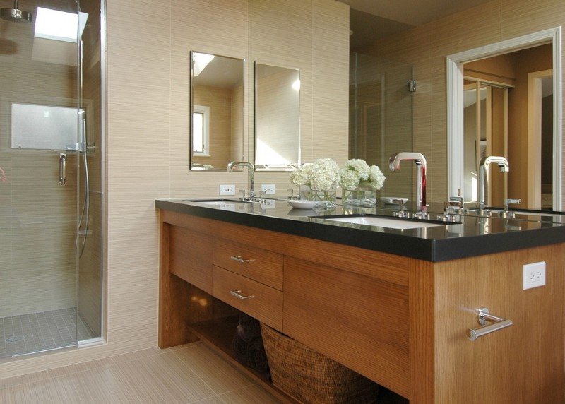 double vanity wall mirror black granite countertop rattan basket sinks faucets glass shower door beige floor tile