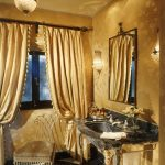 Iron Mirror Frame Black Marble Vanity Sink Faucet Chair Chandelier Frosted Glass Window Yellow Silk Curtains Wall Scones