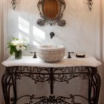 Iron Mirror Frame Iron Vanity Iron Legs White Sink Bowl White Top Black Wall Mounted Faucet Iron Wall Sconces Glass Flower Vase