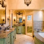 Iron Mirror Frame Iron Wall Sconces Iron Chandelier Green Vanity Granite Contertop Sinks Faucets Built In Tub Window Curtain