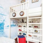 Kids White Loft Bed Colorful Bean Bad Built In White Shelves Toys Display Drawer Pendant Lamp Wallpaper White Tufted Sofa