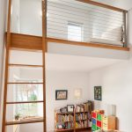 Kids White Loft Bed Wire Railing Wooden Cap Wooden Ladder White Wall Ceiling Bookshelves Bed White Bed Corner Windows