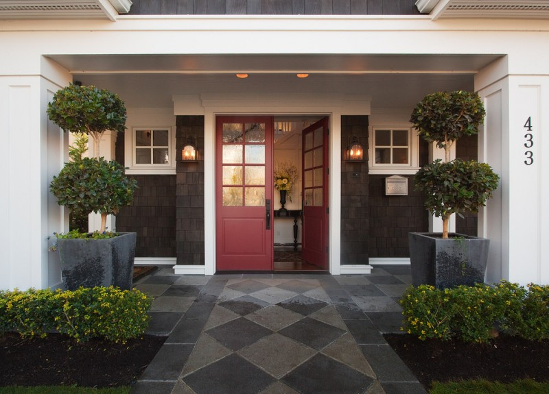 red door designs grey concrete outdoor floor outdoor wall sconces square white glass windows entryway table