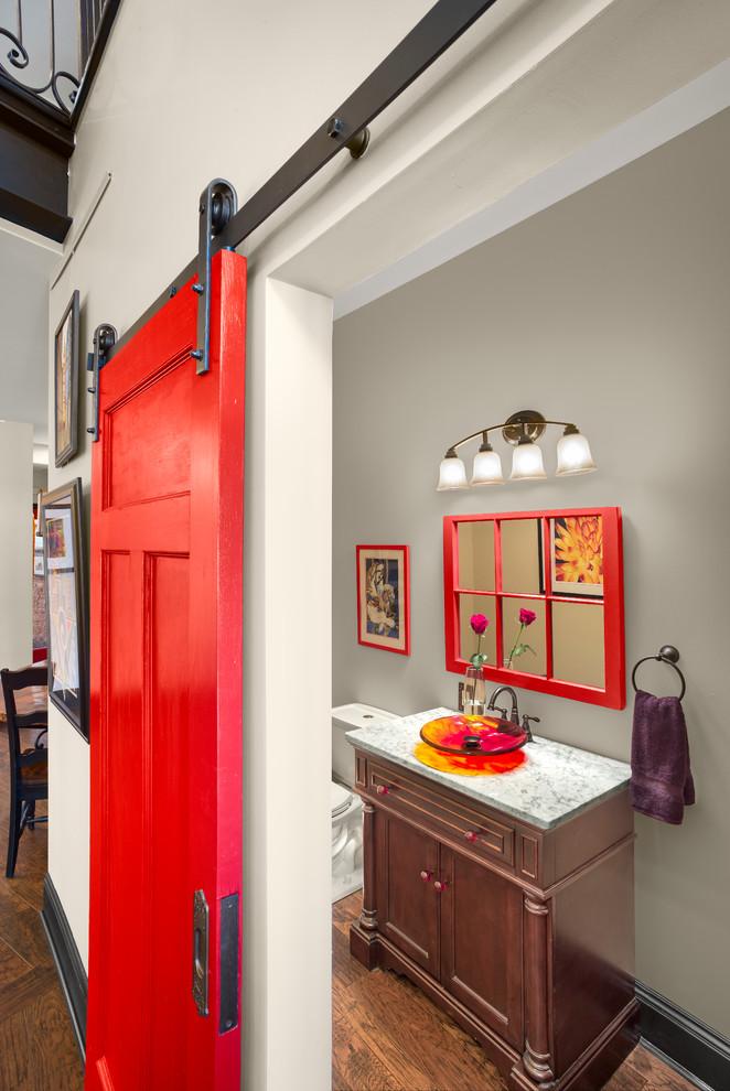 red door designs sliding barn door black hardware red grid mirror wall sconce wooden vanity glass sink bowl marble countertop towel ring