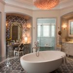 Regal Glass Chandelier Mosaic Floor Tile Vanity Glass Shower Door Freestanding Bathtub Tub Filler Drawers Mirror Chair