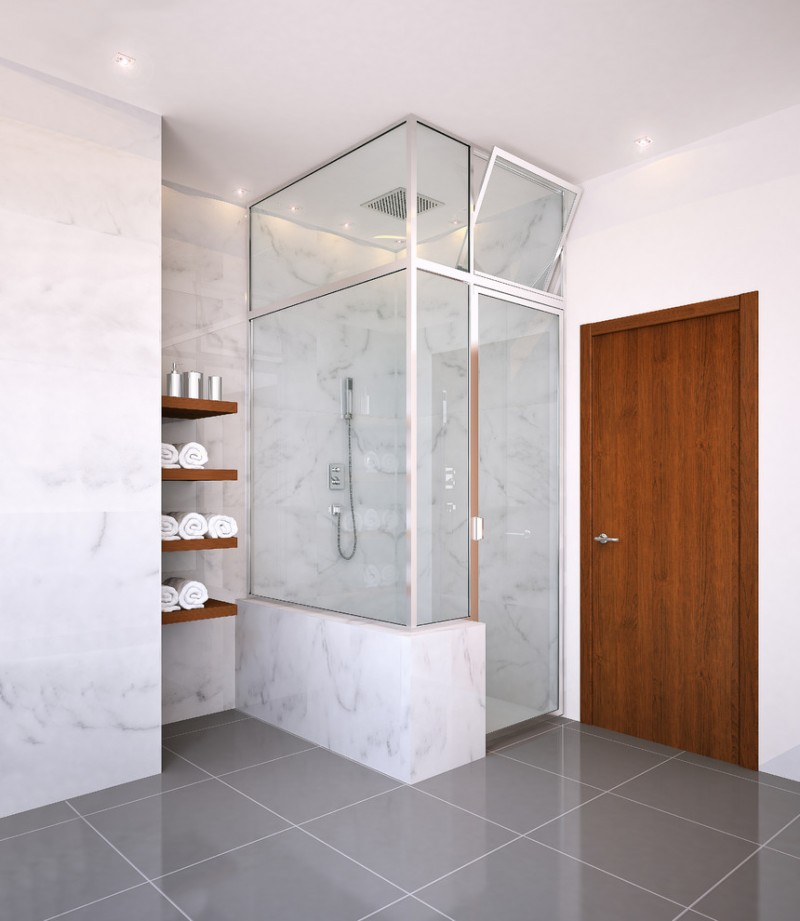 regal glass glass framed shower shower faucet wall mounted wooden shelves towels grey floor tile white marble walls