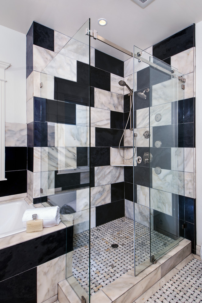 sliding glass shower door black and white marble tiles mosaic floor tile recessed lighting shower head built in bathtub