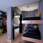 Toddler Boys Bed Hanging Bunk Bed Wooden Ladder Black Bedding Gold Pillows Chains Wall Decorations Throw