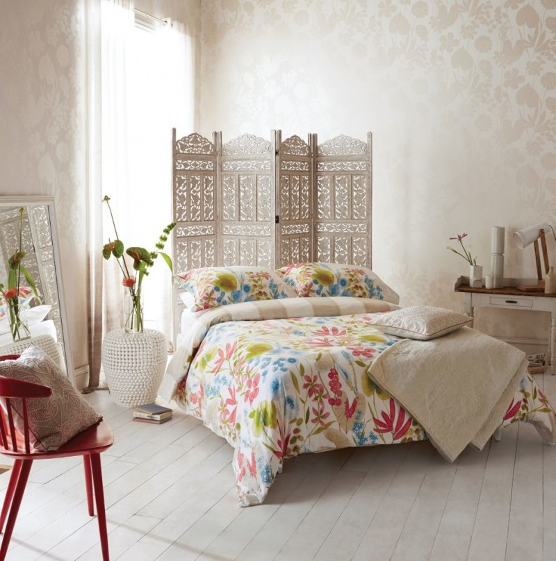 watercolor duvet colorful bedding asian pannel standing mirror patterned wallpaper white desk window white curtains red chairs