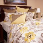 Watercolor Duvet Purple White Bedding Yellow Brown Pillows Wooden Bed Headboard Nightstands Table Lamps Artwork