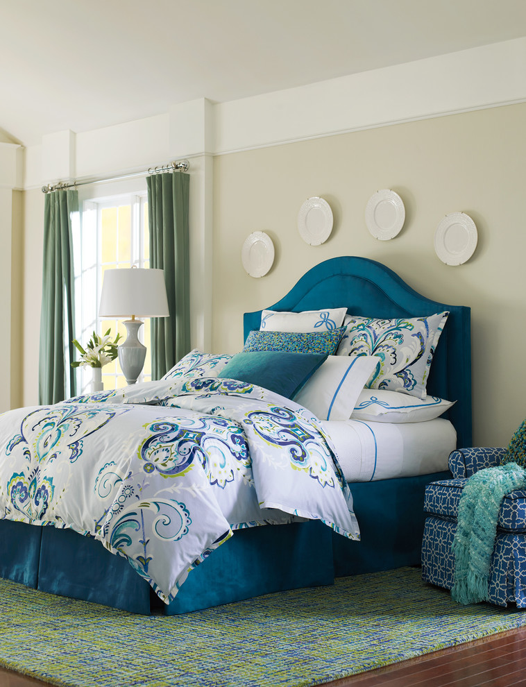 watercolor duvet teal bed teal headboard white blue bedding cream wall green curtains armchair white table lamp