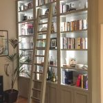Bookcase With Ladder And Rail Dark Brown Shag Area Rug Dark Brown Leathered Armchair Indoor Plant Artwork Led Lighting