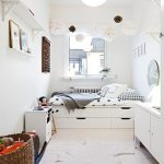 Built In Bed Near The Window, With White Wooden Bedding, White Linen, Storage Under